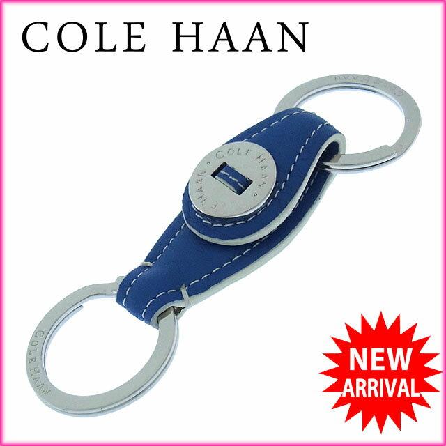 コールハーン Cole Haan キーホルダー キーリング メンズ可 ロゴ ブルー×シルバー レザー×シルバー金具 (あす楽対応)激安 未使用品【中古】 Y1971