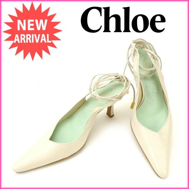 【中古】 クロエ Chloe パンプス #36 レディース 編み上げ ホワイト レザー (あす楽対応)人気 Y2003