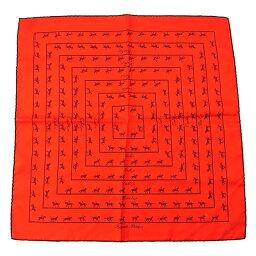 愛馬仕HERMES圍巾手帕男子的可的puchikare騎馬花紋紅柳丁×棕色SILK/100%(對應)促銷品質優良的貨物Y2093