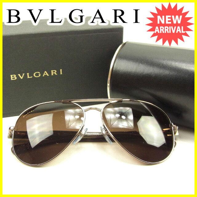 ブルガリ BVLGARI サングラス ティアドロップ レディース メンズ 可 べっ甲 ブラウン系 人気 セール 【中古】 T639