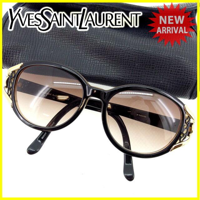 イヴサンローラン YVES SAINT LAURENT サングラス メガネ レディース フルリム 31-8503 クリアブラウン×ブラック×ゴールド プラスティック×ゴールド金具 (あす楽対応)人気 【中古】 Y4495