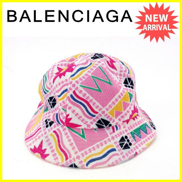 【お買い物マラソン】 【中古】 バレンシアガ BALENCIAGA 帽子 ハット レディース ♯Mサイズ ミックス柄 ホワイト×ピンク系 綿/100% (あす楽対応)中古 Y4824s .
