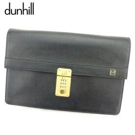 【中古】 ダンヒル dunhill クラッチバッグ セカンドバッグ レディース メンズ ブラック レザー 人気 セール B986