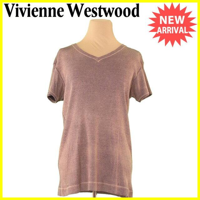 ヴィヴィアン ウエストウッド Vivienne Westwood カットソー 半袖 Tシャツ レディース メンズ 可 ♯Mサイズ Vネック ブラウン×ベージュ コットン綿100% 人気 【中古】 L1622 .