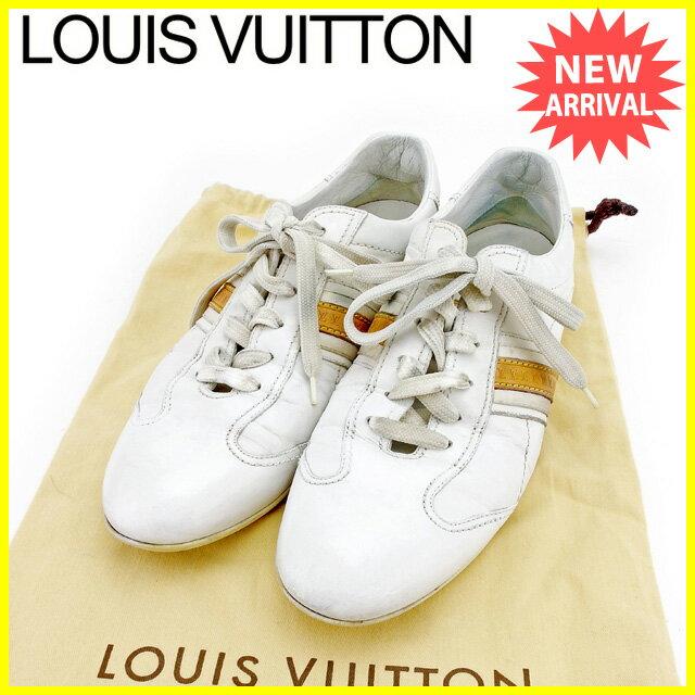 【お買い物マラソン】 【中古】 ルイ ヴィトン Louis Vuitton スニーカー シューズ 靴 メンズ ♯6ハーフ ローカット LVライン ホワイト×ベージュ レザー 訳あり T2558 .
