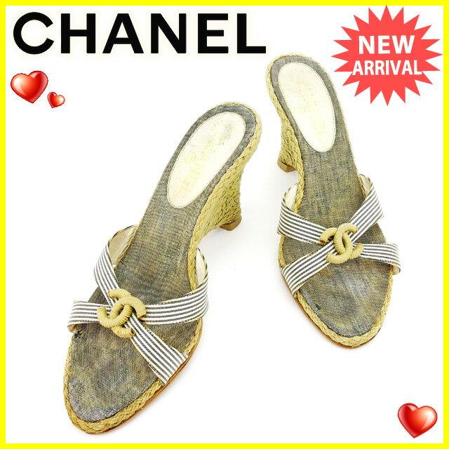 シャネル CHANEL サンダル シューズ 靴 レディース ウェッジソール ココマーク ベージュ×ネイビー×ホワイト 人気 【中古】 T2233
