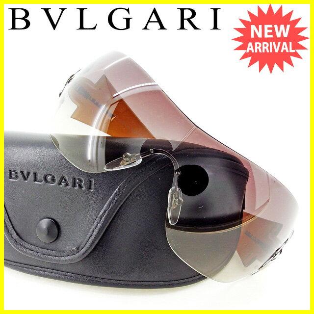 ブルガリ BVLGARI サングラス メガネ アイウェア レディース メンズ 可 ラインストーン付き ワンレンズ型 クリアブラック×ベージュ×シルバー系 プラスチック×シルバー金具 良品 セール 【中古】 T2251