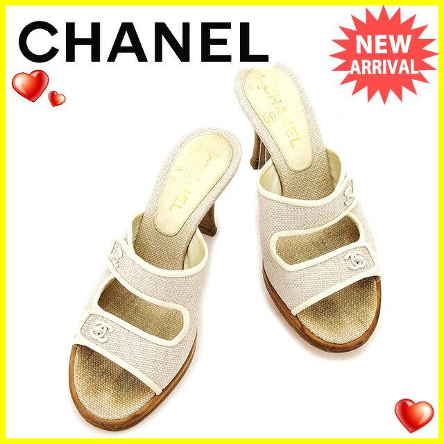 シャネル CHANEL サンダル #36 1/2 メンズ可 ココマーク ホワイト系 キャンバス×レザー 人気 【中古】 T2377
