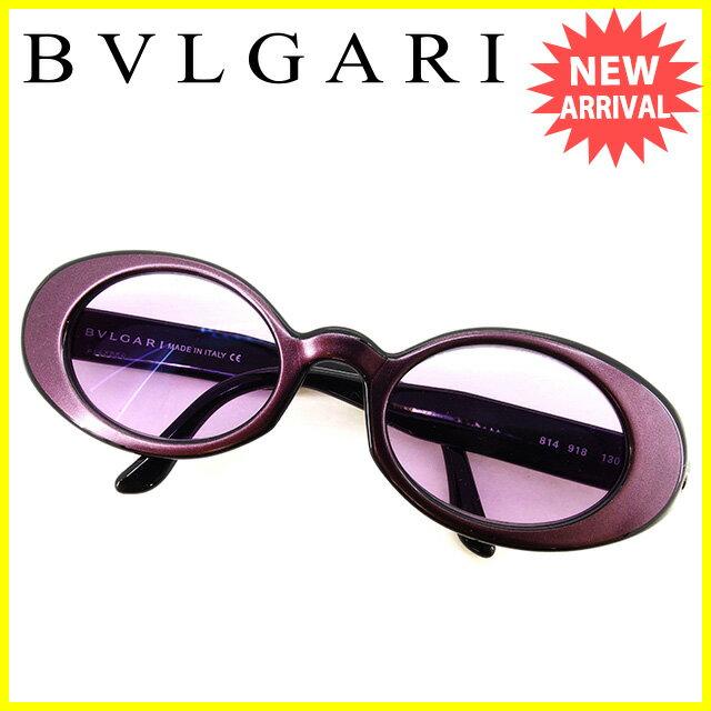 ブルガリ BVLGARI サングラス アイウエア レディース メンズ 可 パープル×シルバー 人気 セール 【中古】 T2446