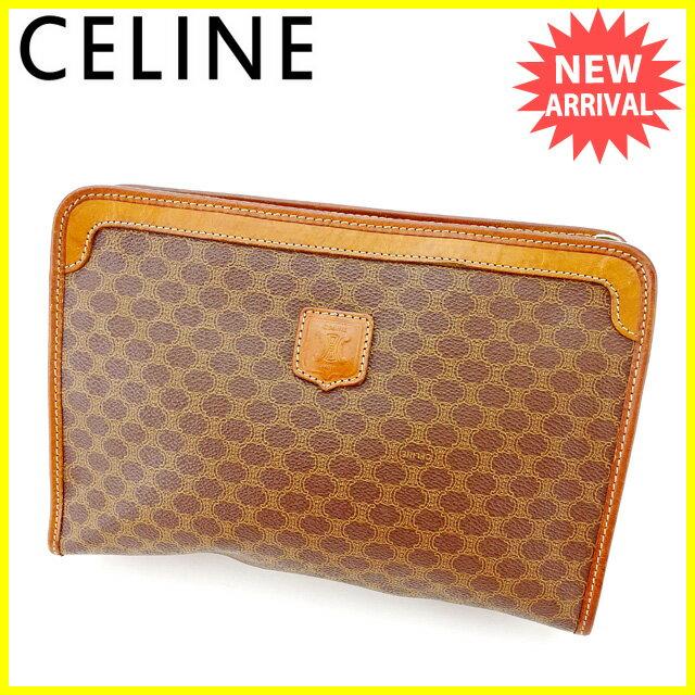 セリーヌ Celine クラッチバッグ セカンドバッグ バッグ メンズ可 マカダム ブラウン PVC×レザー 人気 セール 【中古】 A1617