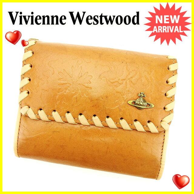 ヴィヴィアン ウエストウッド Vivienne Westwood Wホック 財布 二つ折り 財布 レディース メンズ 可 オーブ ベージュ×ブラウン 型押しレザー 人気 セール 【中古】 G1177