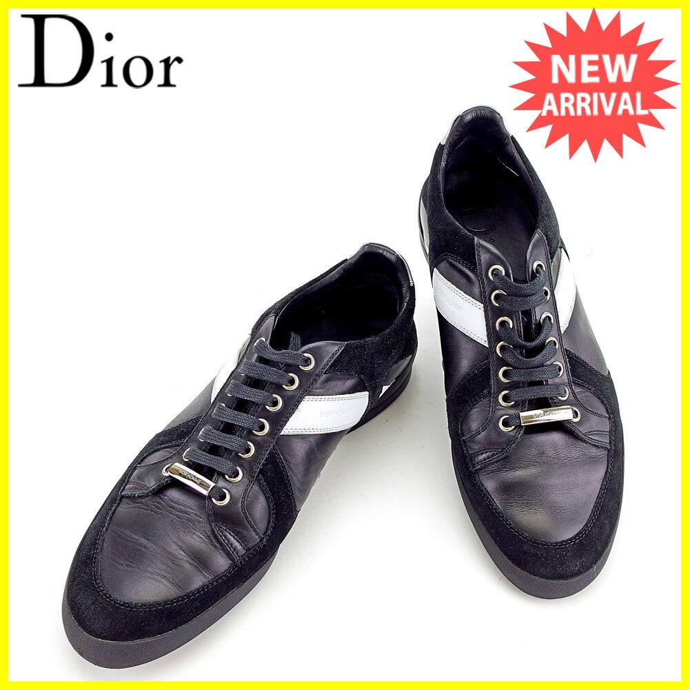 ディオール オム Dior Homme スニーカー シューズ 靴 メンズ ♯41 ローカット ロゴライン ブラック×ホワイト×シルバー レザー×スエード×ラバー 美品 セール 【中古】 T3594 .