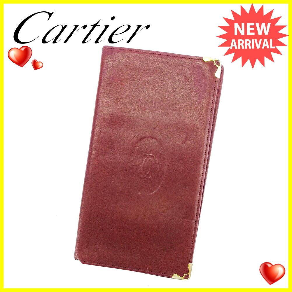 【お買い物マラソン】 【中古】 カルティエ 長札入れ 札入れ Cartier ボルドー×ゴールド A1768s .