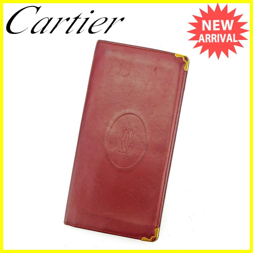 カルティエ 長札入れ 札入れ Cartier ボルドー×ゴールド 【中古】 S594s