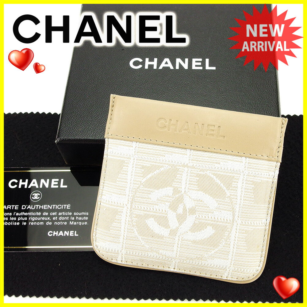 シャネル コインケース 小銭入れ キーケース Chanel ベージュ×シルバー 【中古】 T3838s .