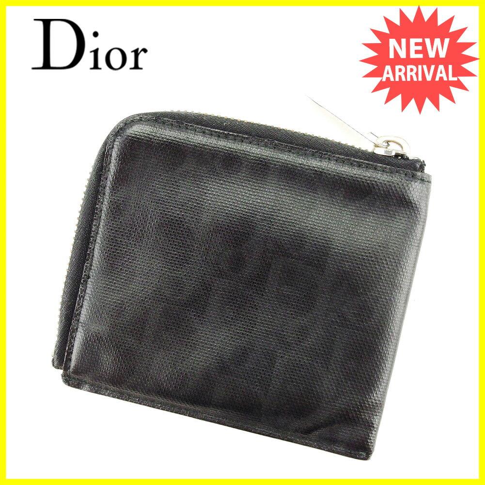 ディオール オム Dior Homme 財布 L字ファスナー メンズ トロッター ブラック×シルバー系 PVC 人気 セール 【中古】 T3911