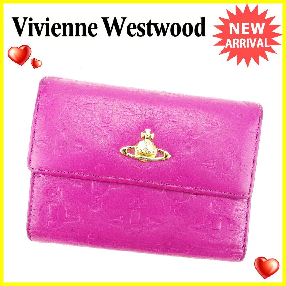 ヴィヴィアン ウエストウッド Vivienne Westwood 三つ折り 財布 レディース メンズ 可 オーブ パープル×ゴールド レザー 人気 良品 【中古】 T3949