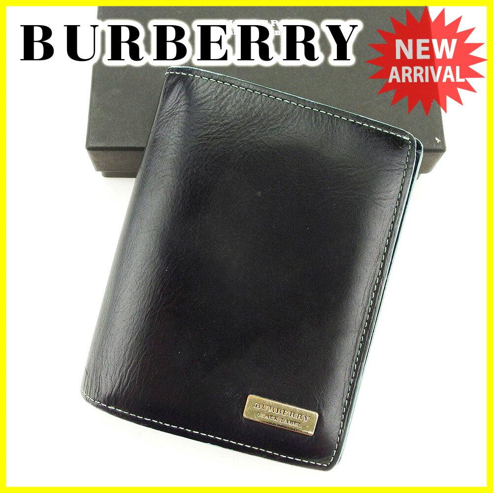 バーバリー ブラックレーベル BURBERRY BLACK LABEL 二つ折り 財布 メンズ ロゴプレート ブラック×ブルー×シルバー レザー 人気 【中古】 T3966 .