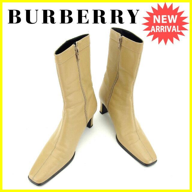バーバリー BURBERRY ブーツ シューズ 靴 レディース ♯23E ミドル ロゴプレート ベージュ×ブラックシルバー レザー 訳あり 美品 【中古】 L990
