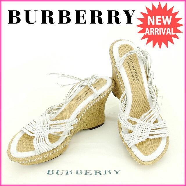 バーバリー BURBERRY サンダル #23 レディース ホワイト×ライトブラウン (あす楽対応)美品 人気【中古】 A763