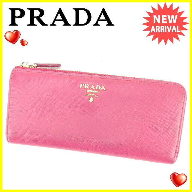 プラダ PRADA L字ファスナー財布 長財布 レディース ピンク レザー 人気 セール 【中古】 C2763