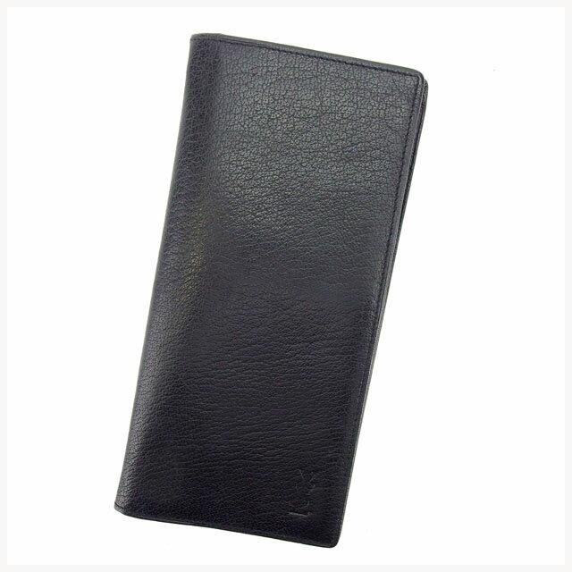 イヴ・サンローラン YVES SAINT LAURENT 長財布 メンズ可 ブラック レザー (あす楽対応)激安 人気【中古】 K168