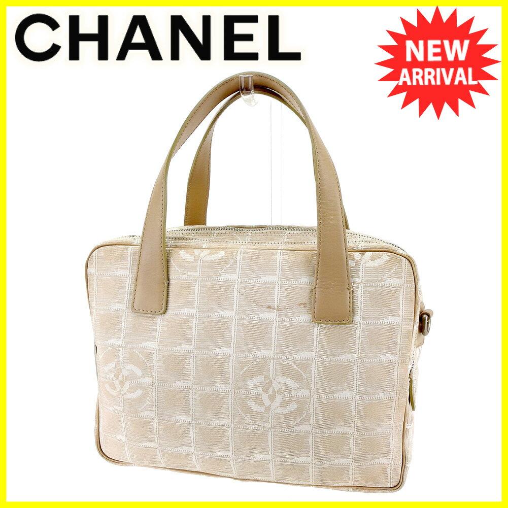 【お買い物マラソン】 【中古】 シャネル ハンドバッグ バッグ Chanel ベージュ×シルバー T4255s