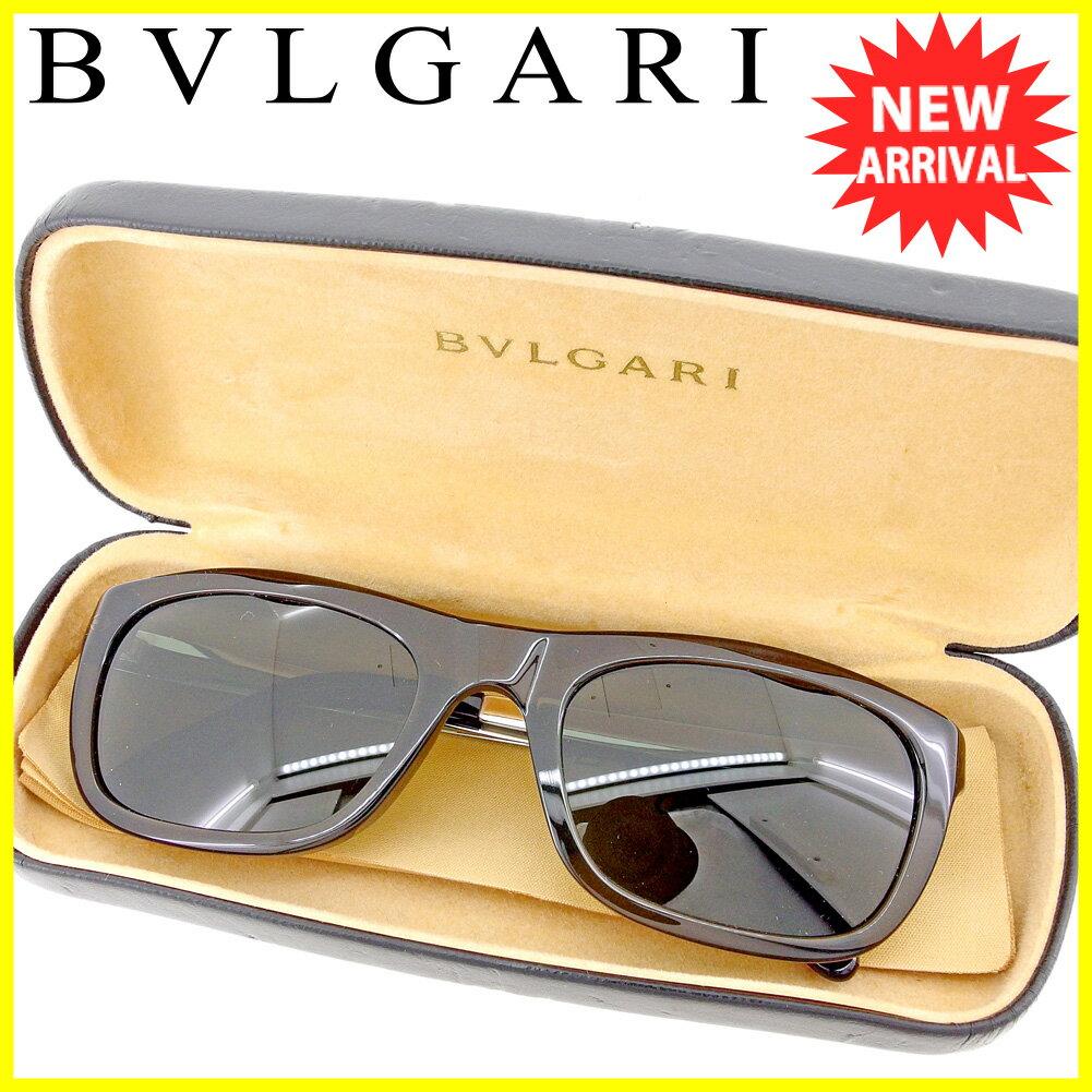 ブルガリ BVLGARI サングラス メガネ アイウェア レディース メンズ 可 サイドロゴ入り フルリム クリアブラック×ブラウン×シルバー系 プラスチック×シルバー金具 美品 セール 【中古】 T4256