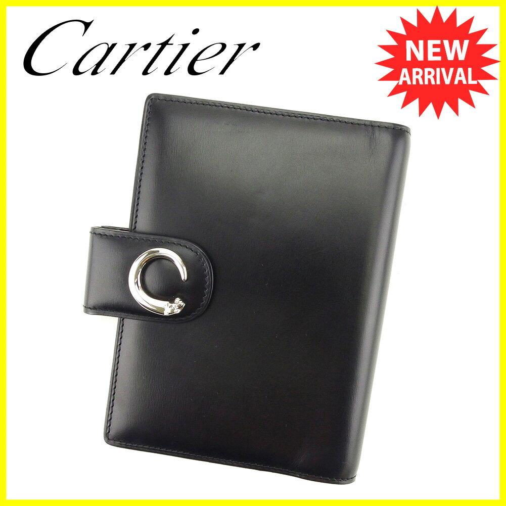 【お買い物マラソン】 【中古】 カルティエ 手帳カバー システム手帳 Cartier ブラック×シルバー T5064s .
