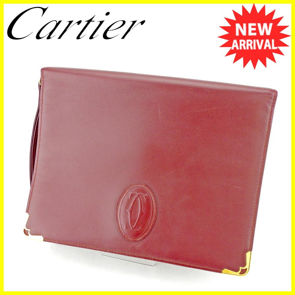 【お買い物マラソン】 【中古】 カルティエ クラッチバッグ セカンドバッグ Cartier ボルドー ゴールド T5172s .