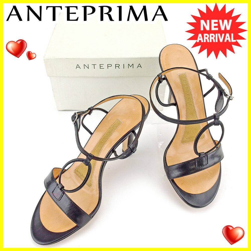 【中古】 アンテプリマ ANTEPRIMA サンダル シューズ 靴 レディース ♯35 アンクルストラップ レザーリング ブラック シルバー系 レザー 美品 T5193 .
