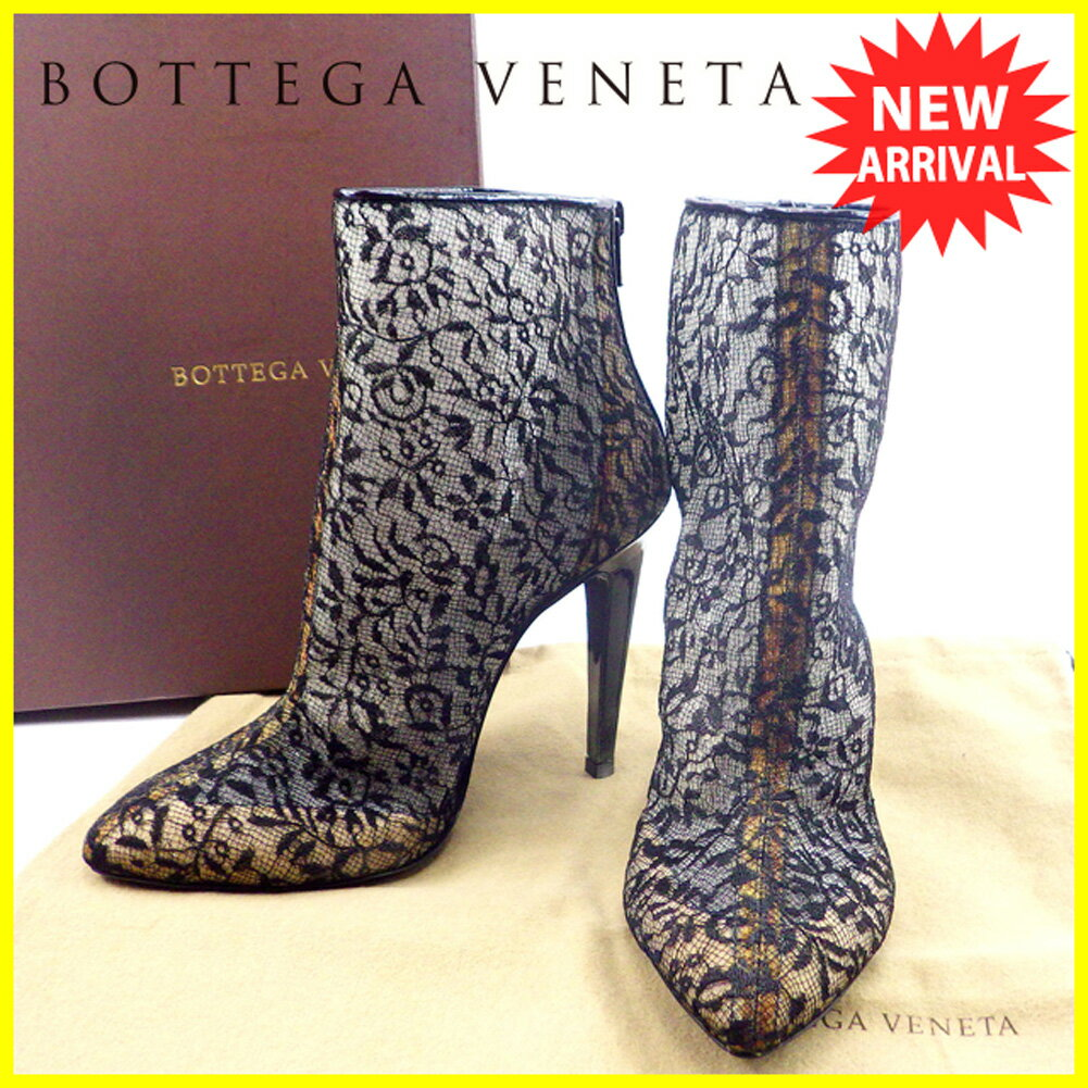 【中古】 ボッテガ ヴェネタ BOTTEGA VENETA ブーツ シューズ 靴 メンズ可 #36 レース ブラック 人気 良品 T4664