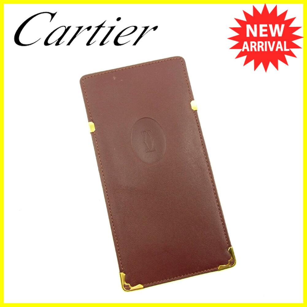 カルティエ メガネケース Cartier ボルドー×ゴールド 【中古】 T4673s