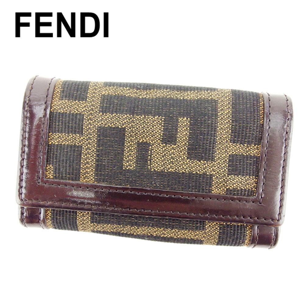 【中古】 フェンディ Fendi キーケース 6連キーケース ベージュ ブラウン ブラック ズッカ メンズ可 E1239s