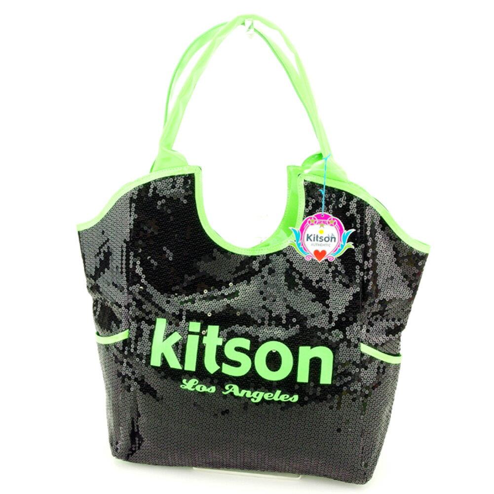 【中古】 キットソン kitson トートバッグ トート ショルダーバッグ レディース スパンコール ブラック グリーン ポリエステル×スパンコールトートバッグ P749s .