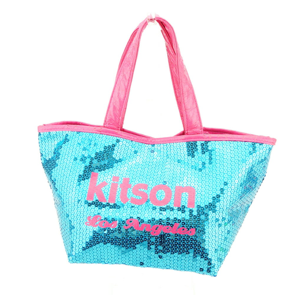 【中古】 キットソン kitson トートバッグ トート ハンドバッグ レディース スパンコール ブルー ピンク スパンコール×ポリエステルトートバッグ P751s .