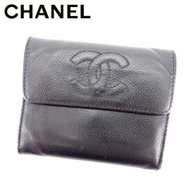 ddc09b026565 【中古】 シャネル Chanel 三つ折り 財布 財布 ブラック キャビアスキン×ココマーク レディース