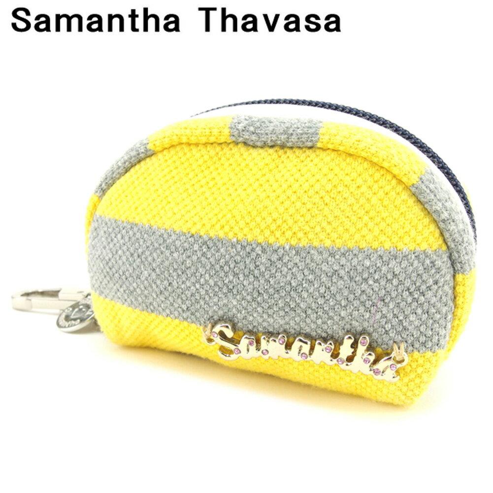 【中古】 サマンサタバサ Samantha Thavasa ポーチ コインケース レディース メンズ ボーダー グレー 灰色 イエロー キャンバス×レザー 美品 セール G1263