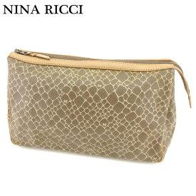 【中古】 ニナリッチ NINA RICCI クラッチバッグ セカンドバッグ メンズ可 ジラフ柄 ベージュ ブラウン PVC×レザー 人気 セール I513 .