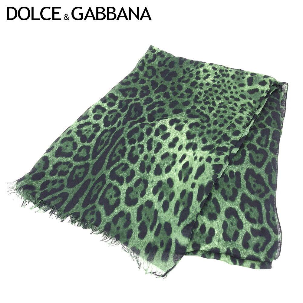 【中古】 ドルチェ&ガッバーナ DOLCE&GABBANA ストール マフラー レディース メンズ レオパード グリーン ブラック 人気 セール C3469