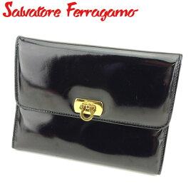 【中古】 サルヴァトーレ フェラガモ Salvatore Ferragamo ポーチ 化粧ポーチ レディース ブラック ゴールド エナメルレザー D1907