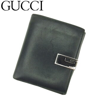 古驰GUCCI W挂钩钱包对开人G标记黑色绿色银子皮革人气促销D1910。