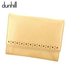 【中古】 ダンヒル dunhill カードケース 名刺入れ レディース メンズ パンチング ベージュ ブラウン レザー 人気 セール E1264 .