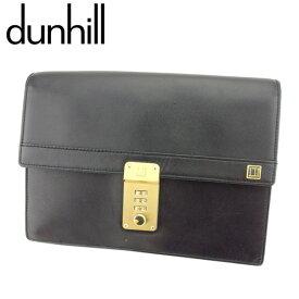【中古】 ダンヒル dunhill クラッチバッグ セカンドバッグ メンズ コンフィデンシャル ブラック ゴールド レザー 人気 良品 T8003