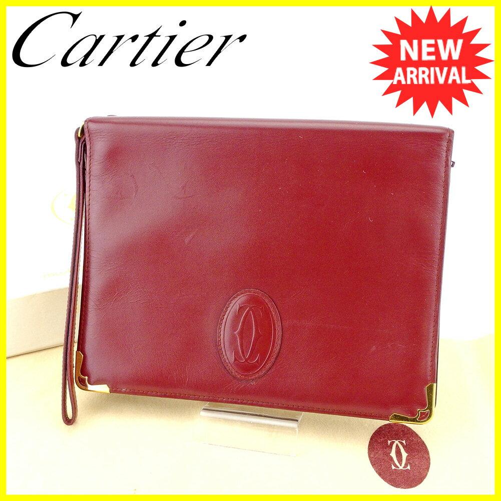 カルティエ クラッチバッグ セカンドバッグ Cartier ボルドー×ゴールド 【中古】 T4182s