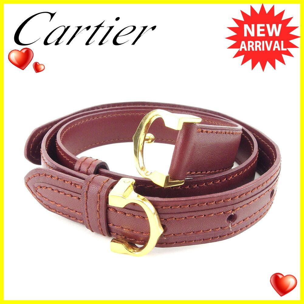 カルティエ ベルト Cartier ボルドー 【中古】 T4969s