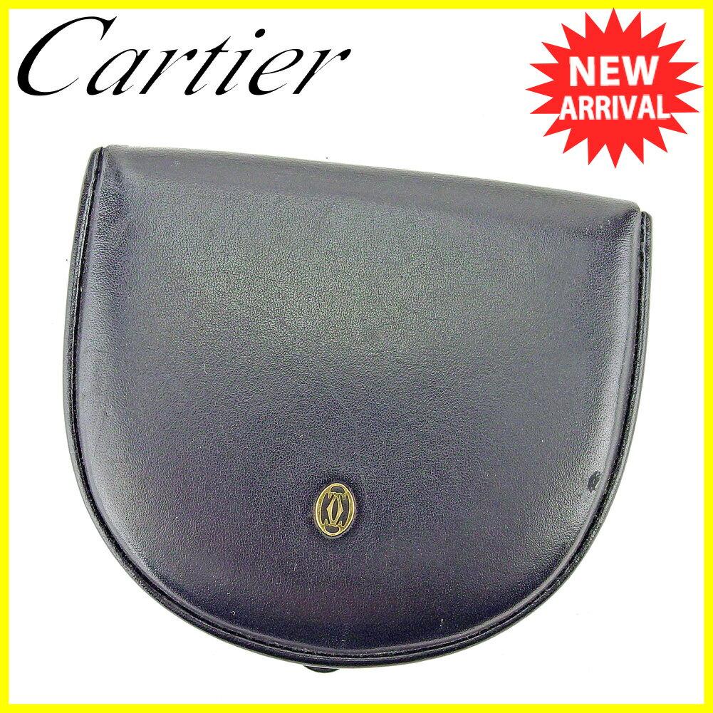 カルティエ Cartier コインケース 小銭入れ メンズ パシャ ブラック ゴールド レザー 良品 セール 【中古】 T5312