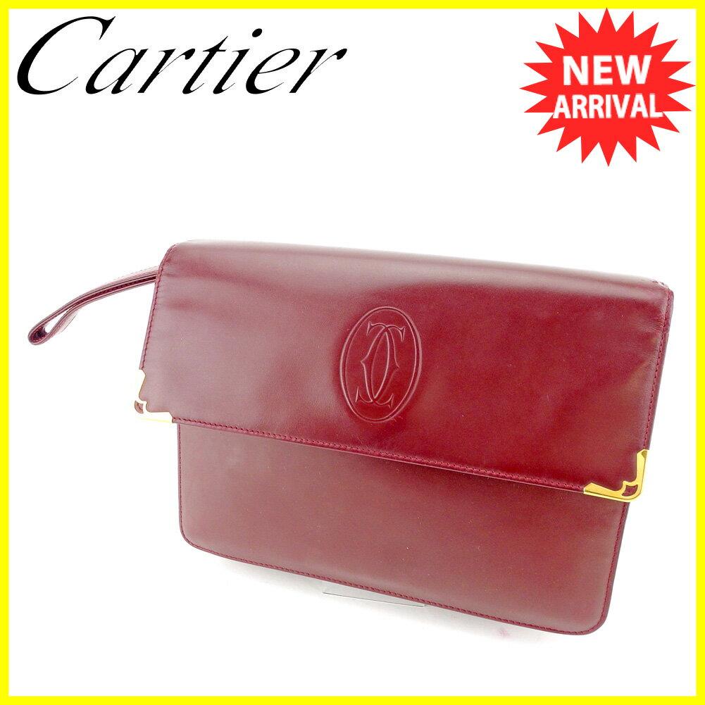 【お買い物マラソン】 【中古】 カルティエ クラッチバッグ セカンドバッグ Cartier ボルドー ゴールド T5377s .