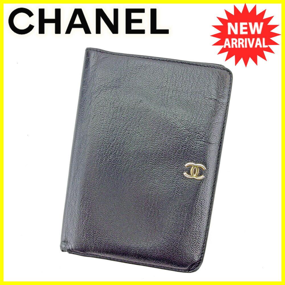【中古】 シャネル CHANEL 二つ折り 財布 パスポートケース レディース メンズ 可 オールドグッチ ココマーク ブラック ゴールド レザー ヴィンテージ 人気 T5726