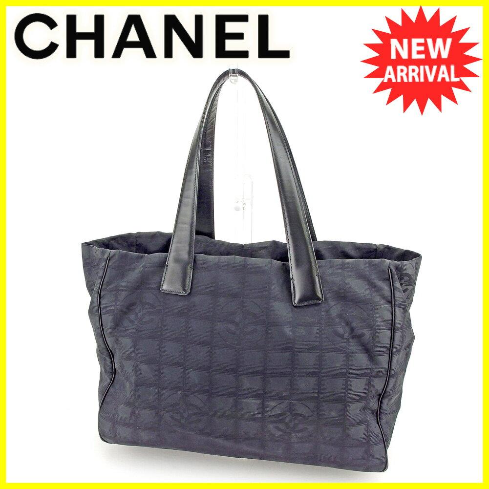 【お買い物マラソン】 【中古】 シャネル トートバッグ ショルダーバッグ Chanel ブラック ゴールド T5526s